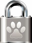 stock photo of paw-print  - Pet paw print icon on stainless steel padlock vector button - JPG