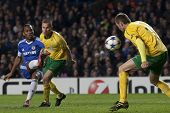 LONDON ENGLAND 23-11-2010. Chelsea's Didier Drogba takes a shot which is blocked by MSK Zilina's Joz