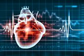 picture of heart surgery  - Virtual image of human heart with cardiogram - JPG