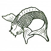 stock photo of koi tattoo  - retro illustration japanese koi carp tattoo - JPG