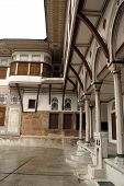 picture of eunuch  - Inner yard of Harem in Topkapi palace in Istanbul Turkey - JPG