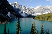 stock photo of tourist-spot  - Emerald green Moraine Lake in the morning - JPG