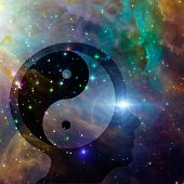 stock photo of karma  - Yin Yang Head elements of this image furnished by NASA - JPG