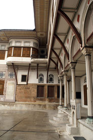 picture of eunuch  - Inner yard of Harem in Topkapi palace in Istanbul Turkey - JPG