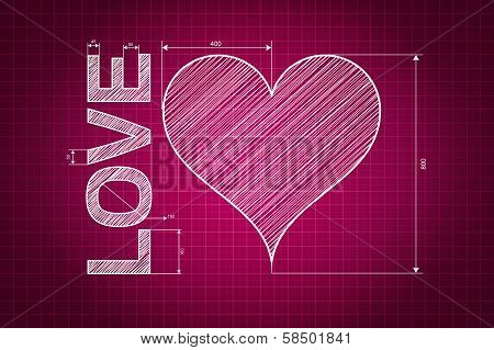 Abstract Love Heart Blueprint, Pink Background With Measures, Scribbled Style