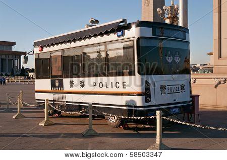 Police Bus On Tiananmen Square. Beijing. China