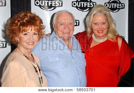 HOLLYWOOD - JULY 10: Ernest Borgnine and wife Tova with Sally Kirkland at the Premiere of