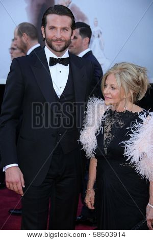 Bradley Cooper and mother at the 85th Annual Academy Awards Arrivals, Dolby Theater, Hollywood, CA 02-24-13