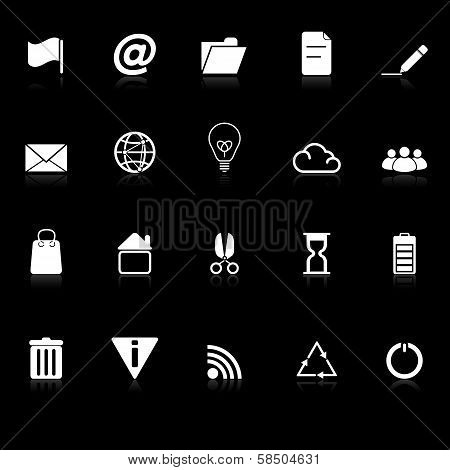 Web And Internet Icons With Reflect On Black Background