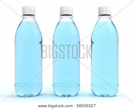 Bottles of water isolated on white background