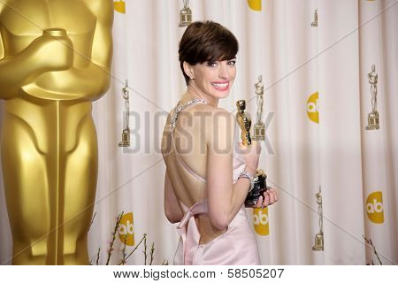 Anne Hathaway at the 85th Annual Academy Awards Press Room, Dolby Theater, Hollywood, CA 02-24-13