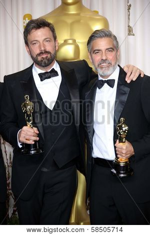 Ben Affleck and George Clooney at the 85th Annual Academy Awards Press Room, Dolby Theater, Hollywood, CA 02-24-13