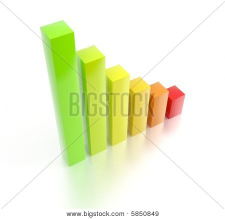 Colorful rising 3d bar chart
