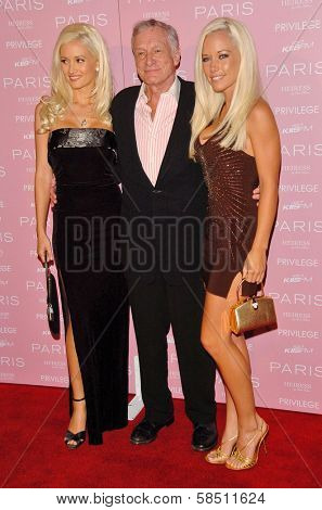 HOLLYWOOD - AUGUST 18: Holly Madison, Hugh M. Hefner and Kendra Wilkinson at the party celebrating the launch of Paris Hilton's Debut CD