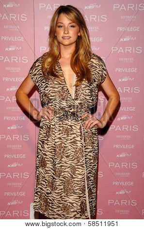 HOLLYWOOD - AUGUST 18: Haley Bennett at the party celebrating the launch of Paris Hilton's Debut CD