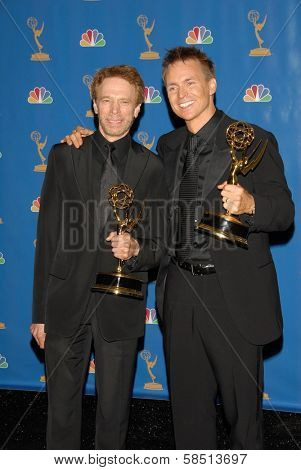 LOS ANGELES - AUGUST 27: Jerry Bruckheimer and Phil Keoghan in the Press Room at the 58th Annual Primetime Emmy Awards in The Shrine Auditorium August 27, 2006 in Los Angeles, CA.