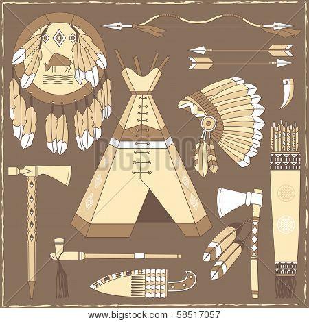 Native American Hunting Design Elements - Illustration