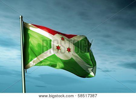 Burundi flag waving in the evening