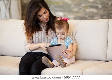 Mom and girl social networking