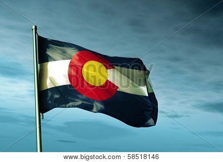 Colorado (USA) flag waving in the evening
