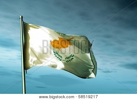 Cyprus flag waving in the evening