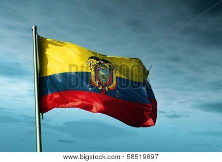 Ecuador flag waving in the evening