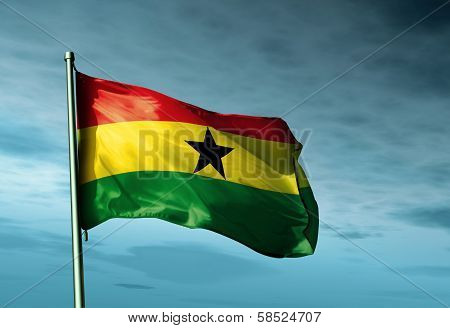 Ghana flag waving in the evening