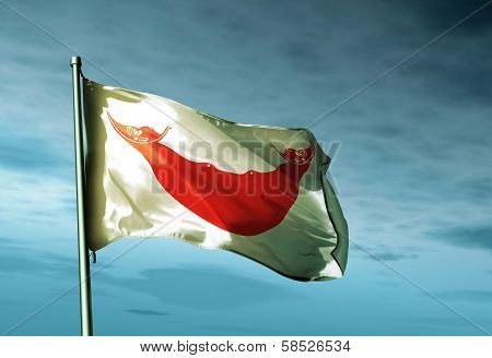 Rapa Nui (Chile) flag waving on the wind