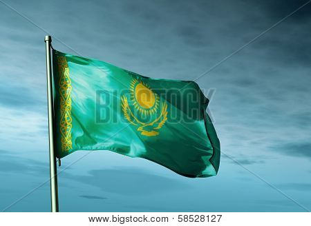 Kazakhstan flag waving on the wind