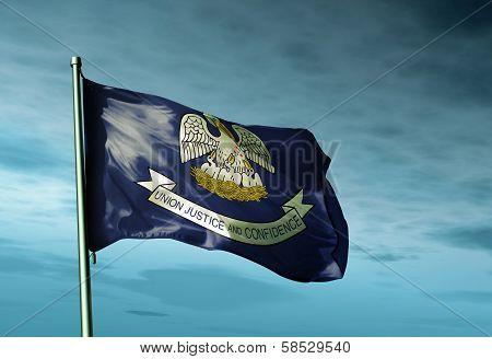 Louisiana (USA) flag waving on the wind