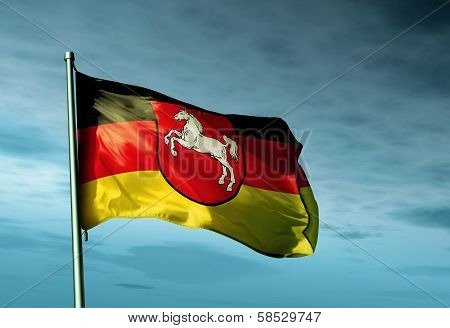 Lower Saxony (GER) flag waving in the evening