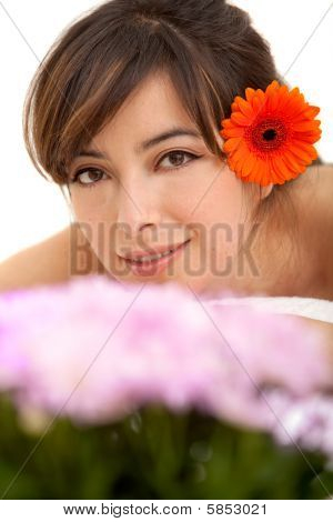 Woman Potrait With A Flower
