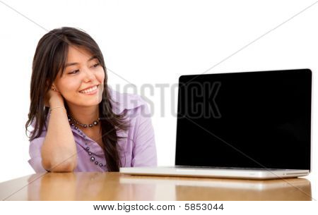 Business Woman Staring At A Laptop