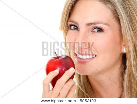 Woman Portrait With A Red Apple