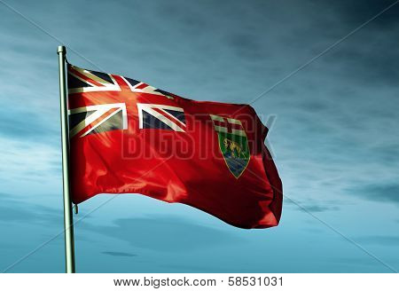 Manitoba (Canada) flag waving in the evening