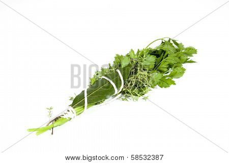 Studio Shot Of Traditional Bouquet Garni On White