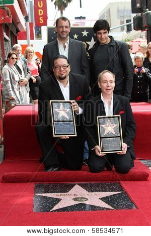 Trey Parker, David Copperfield, Penn Jillette, Teller at Penn & Teller's induction into the Hollywood Walk Of Fame, Hollywood, CA 04-05-13
