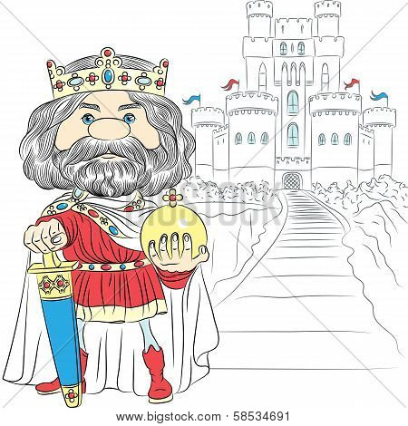 Vector Cartoon King Charles The First In The Crown, With The Sword And Globus Cruciger