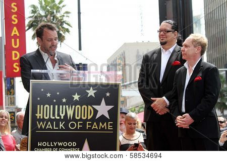 Trey Parker, Penn Jillette, Teller at Penn & Teller's induction into the Hollywood Walk Of Fame, Hollywood, CA 04-05-13