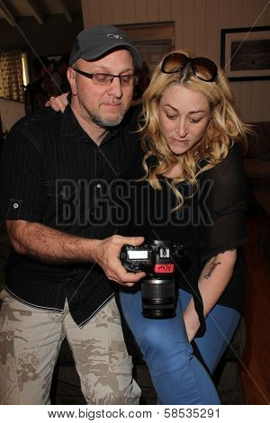 Steven Romano, Jennifer Blanc-Biehn on the set of