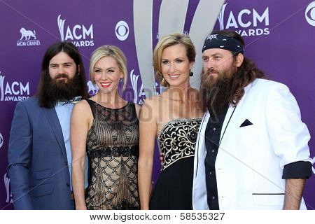 Jep Robertson, Jessica Robertson, Korie Robertson and Willie Robertson of Duck Dynasty at the 48th Annual Academy Of Country Music Awards Arrivals, MGM Grand Garden Arena, Las Vegas, NV 04-07-13
