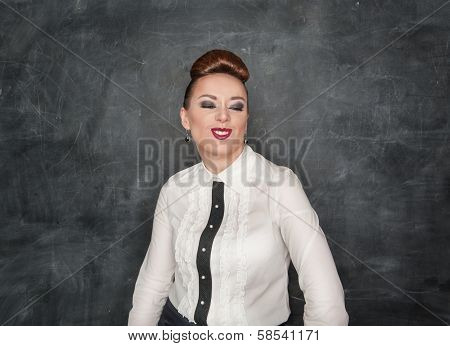 Beautiful Fashion Woman With Crazy Grimace