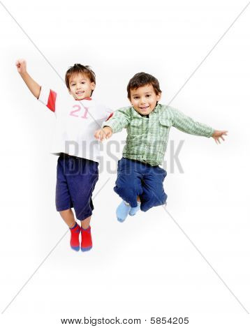 Very Happy Two Little Cute Children Jumping