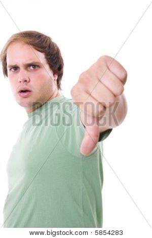 Young Casual Man Thumb Down Isolated On White