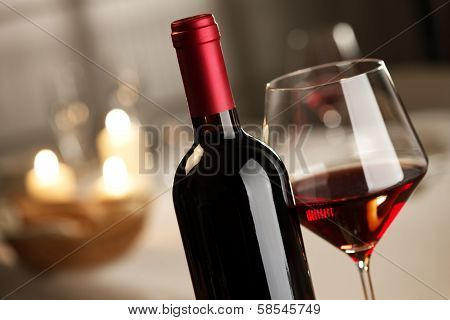 Wineglass And Bottle Still Life