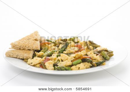 Asparagus Omelette Red Pepper And Slices Of Bread