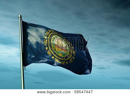 New Hampshire (USA) flag waving on the wind