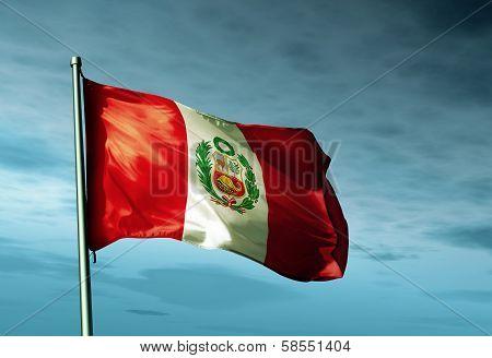 Peru flag waving on the wind