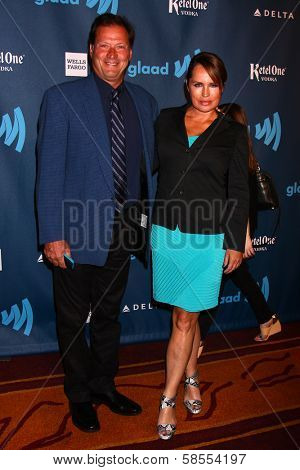 Crystal Chappell and guest at the 24th Annual GLAAD Media Awards, JW Marriott, Los Angeles, CA 04-20-13