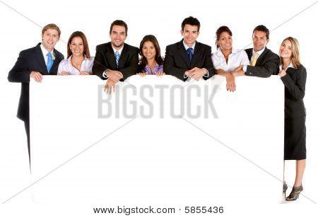 Grupo empresarial con Banner